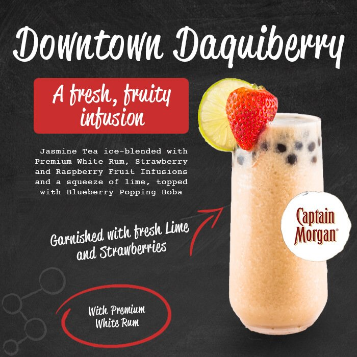 Downtown Daquiberry - a fresh, fruity infusion. Jasmine tea ice-blended with premium rum, strawberry and raspberry fruit infusions and a squeeze of lime, topped with blueberry popping boba. Garnished with fresh lime and strawberries. Served with premium rum.