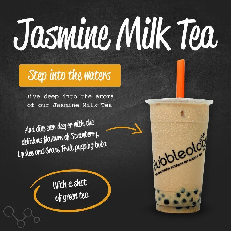 Jasmine Milk tea, step into the waters. Dive deep into the aroma of our Jasmine Milk Tea. And dive even deeper with the delicious flavors of strawberry, lychee and grape fruit popping boba. With a shot of green tea.