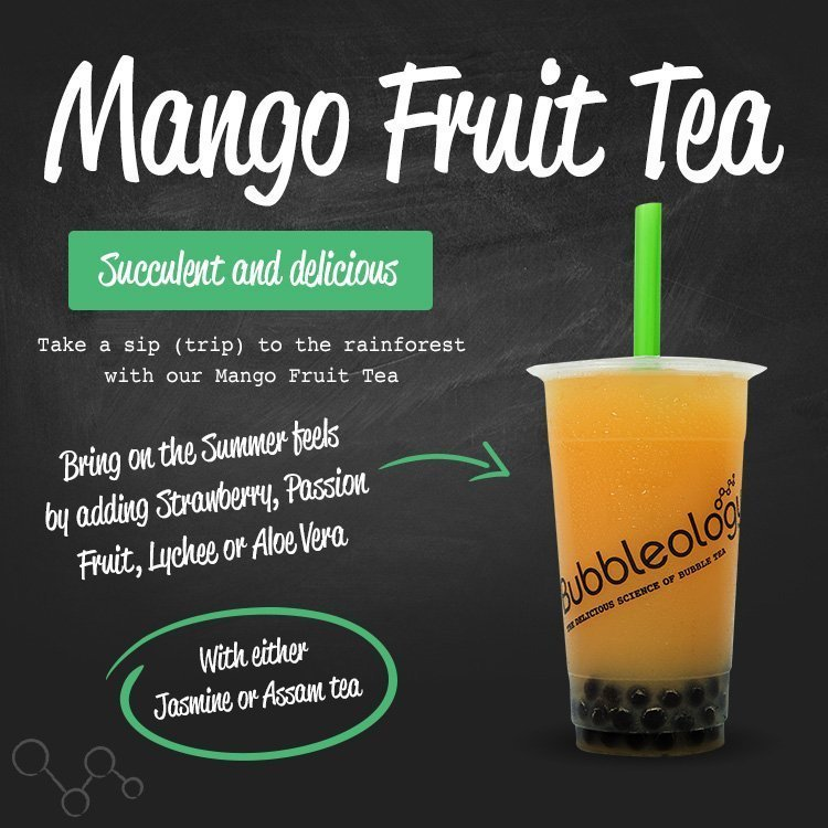Mango Fruit Tea - succulent and delicious. Take a sip (trip) to the rainforest with our Mango Fruit tea. Bring on the summer feels by adding Strawberry, Passion Fruit, Lychee or Aloe Vera. With either Jasmine or Assam tea.