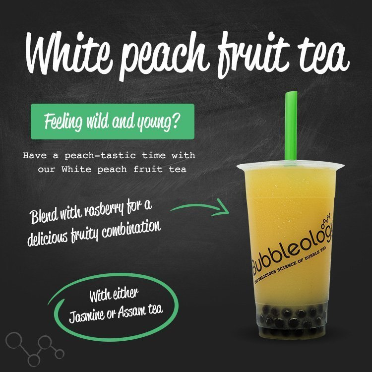 White peach fruit tea - feeling wild and young? have a peach-tastic time with our White peach fruit tea. Blend with raspberry for a delicious fruity combination. With either Jasmine or Assam tea.