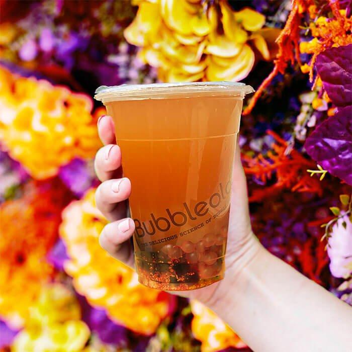 dragon fruit tea closeup from Bubbleology