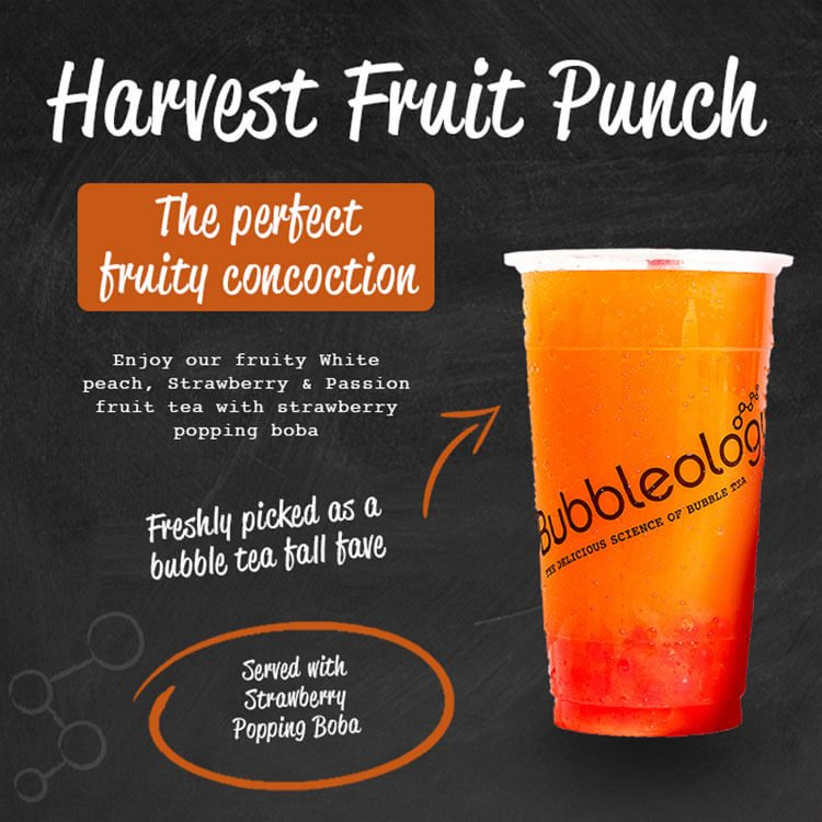 Harvest Fruit Punch, the perfect fruity concoction. Enjoy ourfruity White peach, Strawberry & Passionfruit tea with Strawberry popping boba. Freshly picked as a bubble tea fall fave. Served with strawberry popping boba.